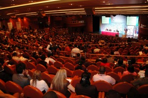 Chartered Princess cruise ship theaterused for general session during global event
