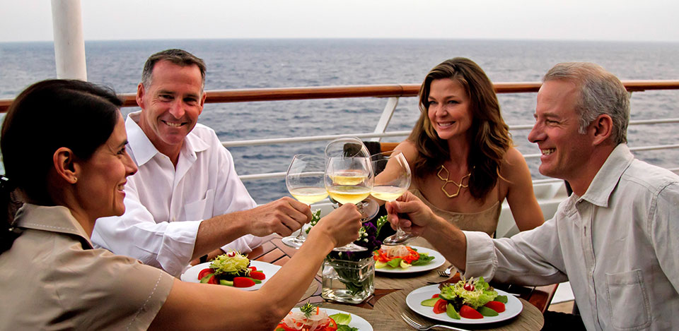 Cruise ship dining on deck