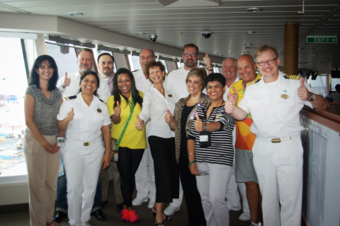 Pictured on the bridge of Norwegian Getaway with the Master of the vessel and his senior officers, is the core planning team from Landry & Kling Events At Sea, Norwegian Cruise Line, and the Rio 2016 Organizing Committee who gathered for a final review of plans for the 40-night charter before the ship's positioning voyage from Miami, non-stop to Rio.