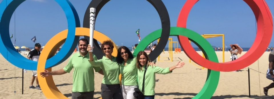 Joyce Landry in Rio with Olympic ring