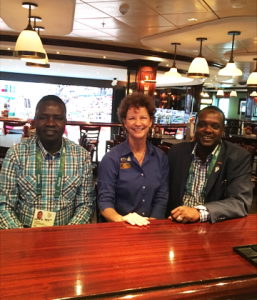 Joyce Landry on Norwegian Getaway during Rio Olympics with officials from Kenya