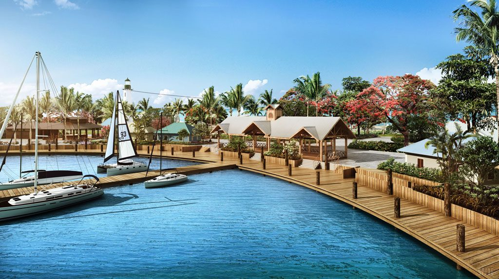 Harvest Caye in Belize - boardwalk rendering