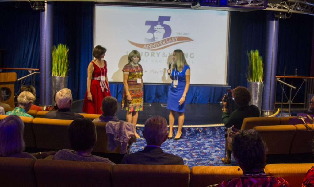 Lisa Vogt of Celebrity Cruises honors Jo Kling and Joyce Landry at 35 year anniversary event.