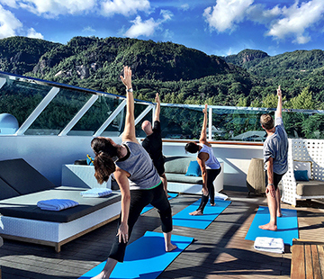 Crystal Esprit Yacht Yoga on Deck - fun ways to stay fit during meetings