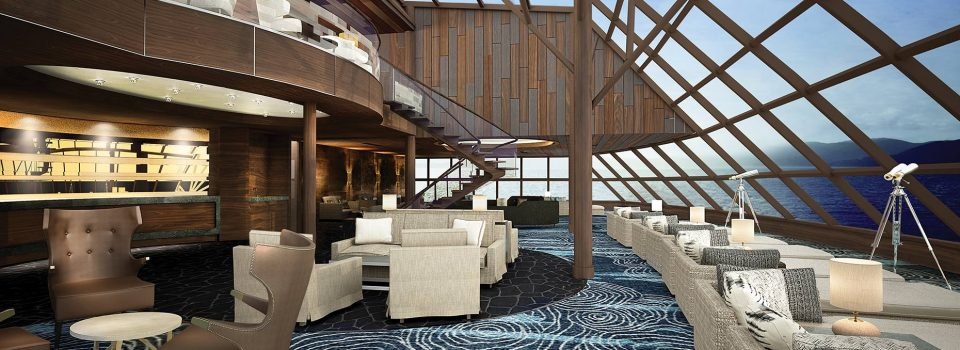Norwegian Bliss Observation Lounge - reasons to meet on a cruise ship