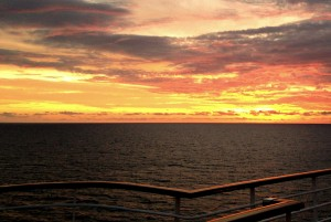 Sunset from cruise ship deck is a bonus when planning cruise meetings