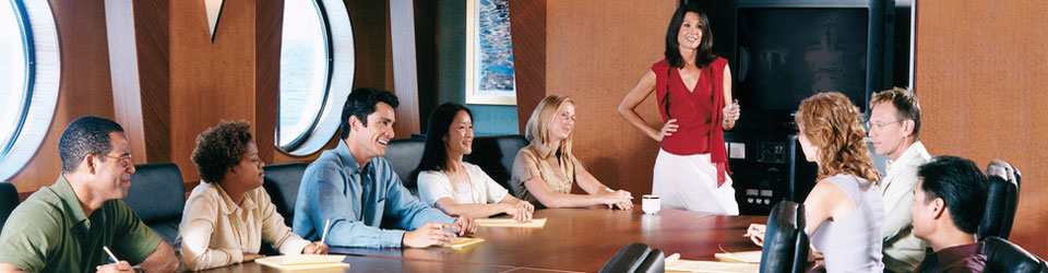 Corporate cruise event planning tools. Meeting on a cruise ship