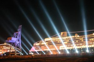 dockside cruise ship charters - ships in Jacksonville at night