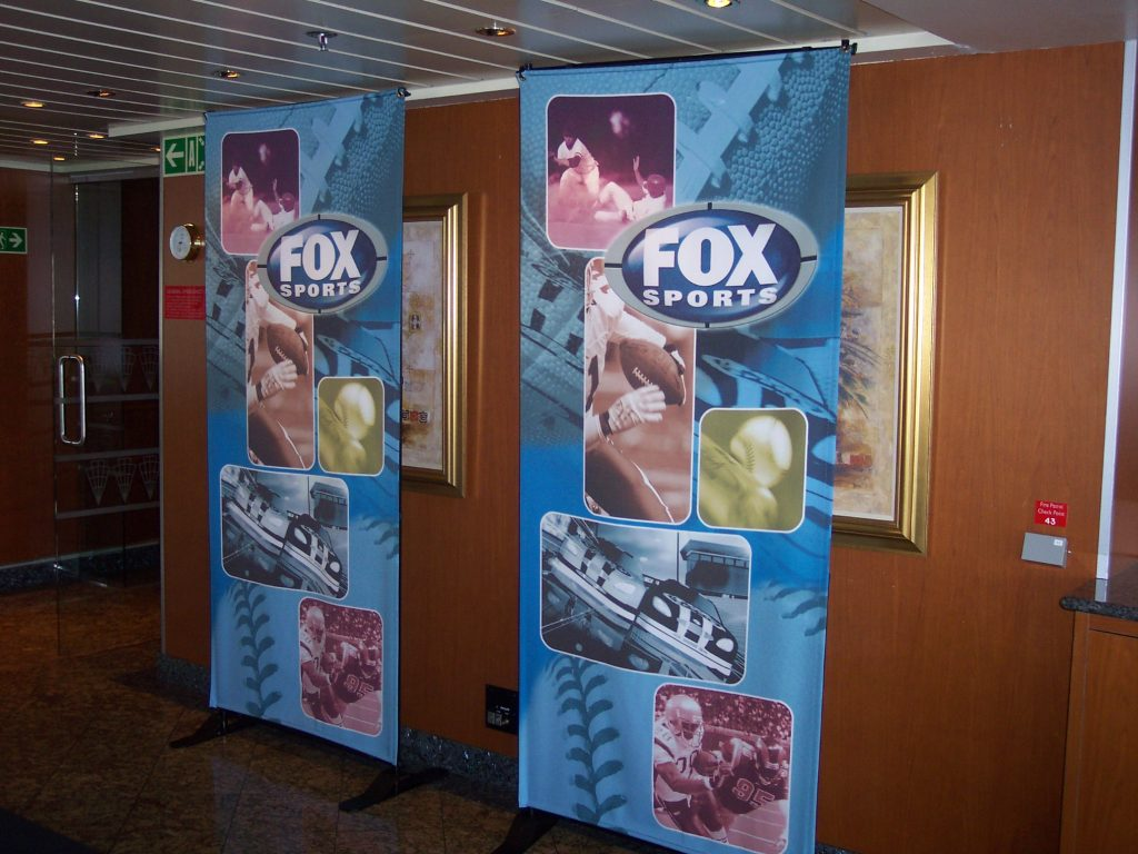 dockside cruise ship charrters - signage onboard ship for Super Bowl 2005