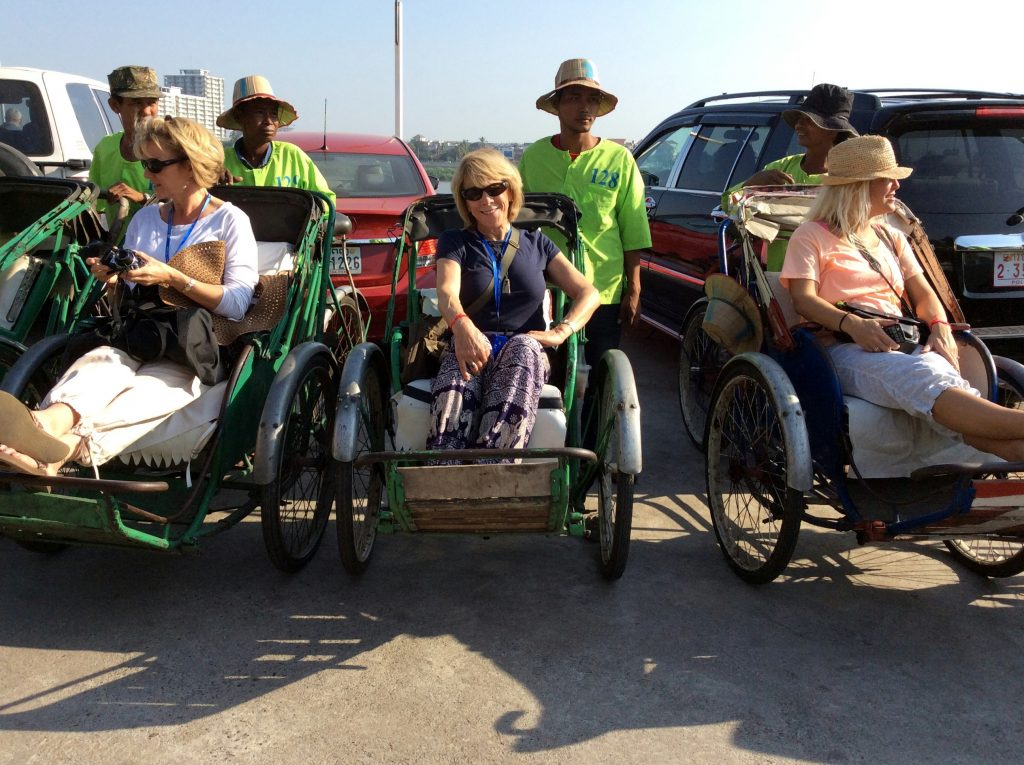 Ready for my rikshaw ride! Mekong River Cruise with Avalon Siem Reap