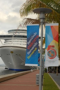 Dockside Trinidad-Ship & Banners