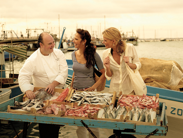 Shopping with the Chef during a cruise culinary tour