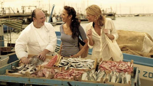 Seabourn guests shopping with the Chef during a Mediterranean cruis