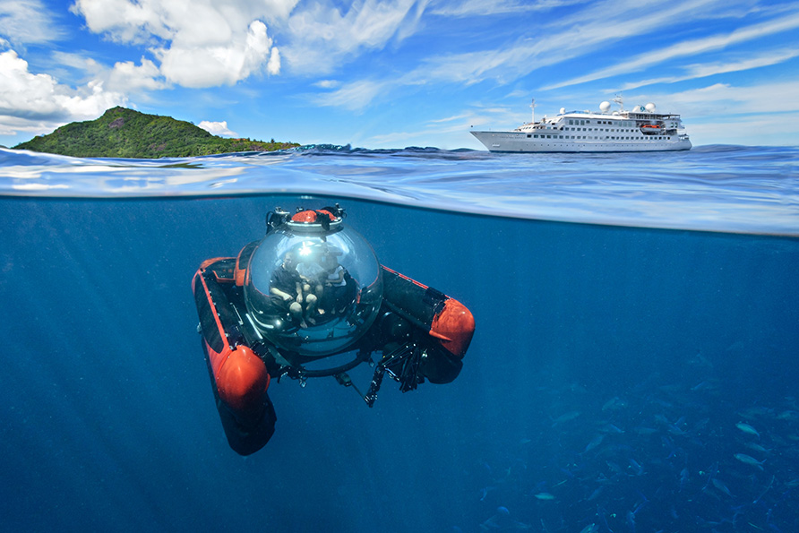 Crystal Yacht Esprit deep-sea submersible accommodates 2 + a pilot.