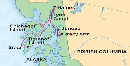 Lindblad-Natinal Geographic 5-night Alaska Expedition itinerary map