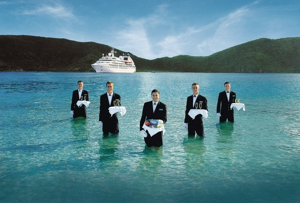 Incentive cruise event: Caviar and Champagne served in the Surf during a Seabourn Quest cruise