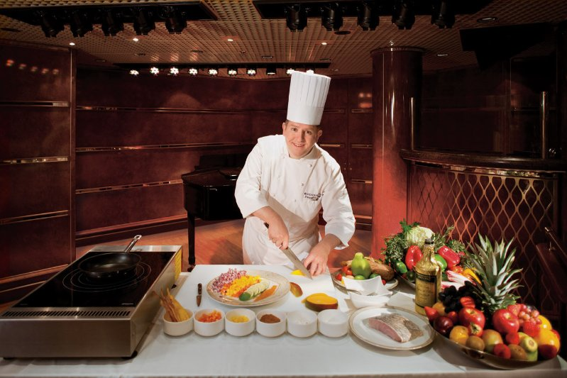 Cooking demonstration on board a Silversea ship