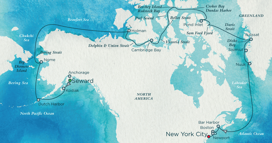 Crystal Serenity Northwest Passage Route Map