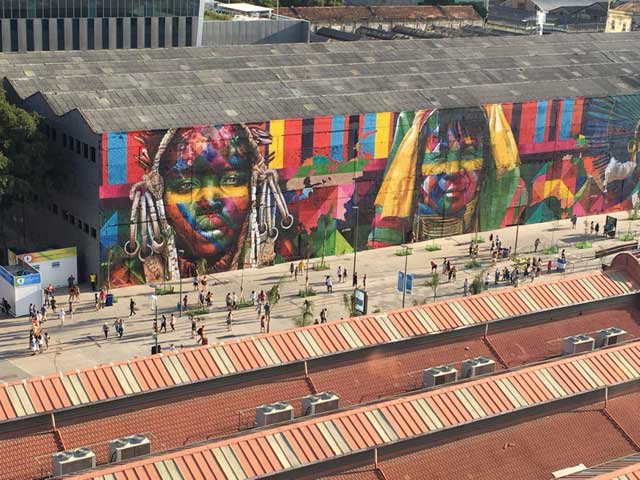 the Kobra artwork from street level