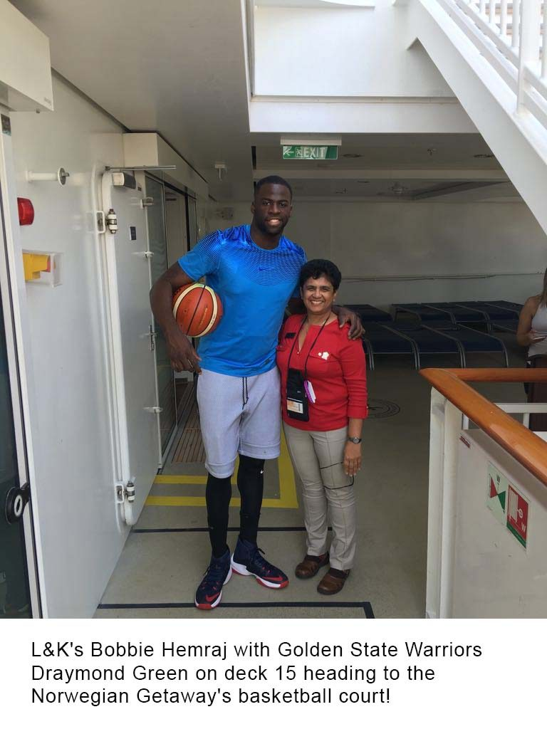 L&K's Bobbie Hemraj with Golden State Warriors Draymond Green on deck 15 heading to the Norwegian Getaway's basketball court