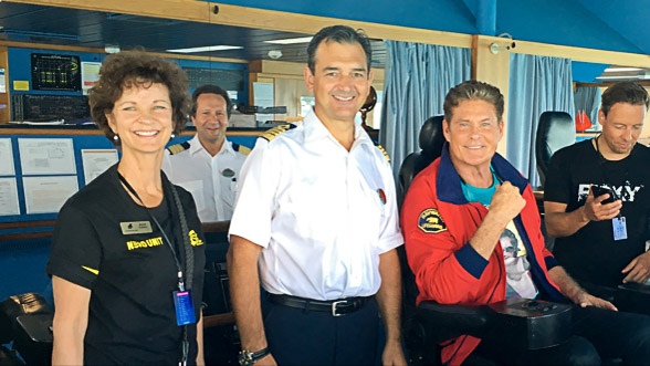 Music theme cruise charter - It's the Ship 2015 - Joyce Landry, David Hasselhoff, Ship Captain on the bridge
