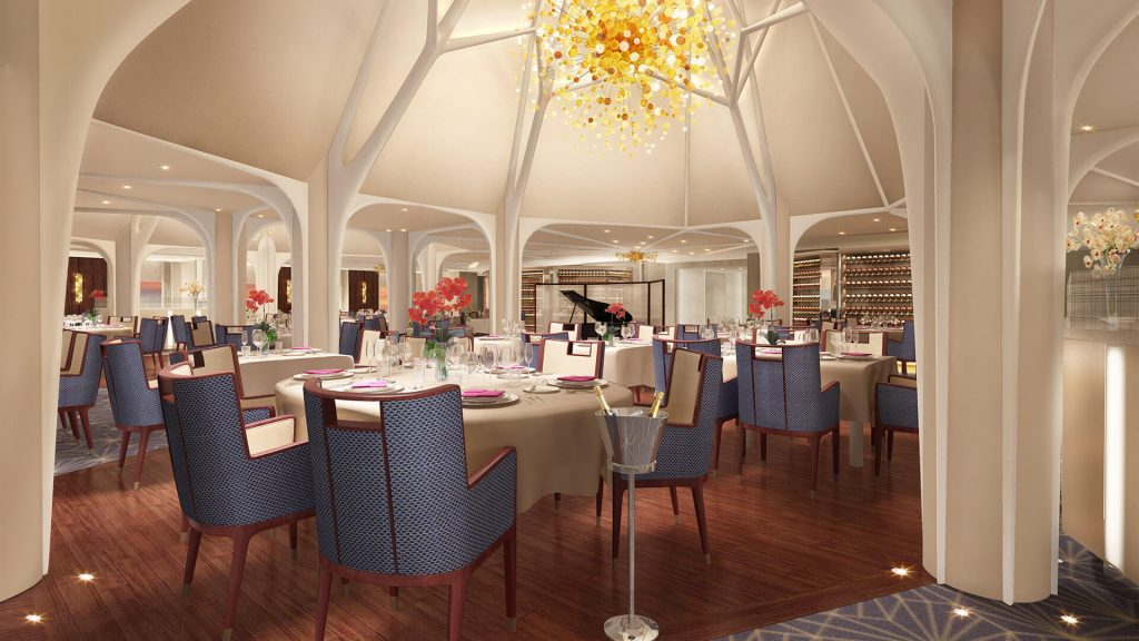 New luxury cruise ship Seabourn Encore main dining room