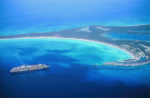 Premium 3 & 4-night cruises - Holland America ship at Half Moon Cay private island
