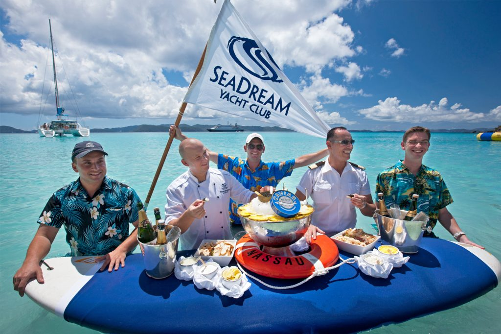 SEaDream Mega-yacht charter: Champagne-Caviar in the surf
