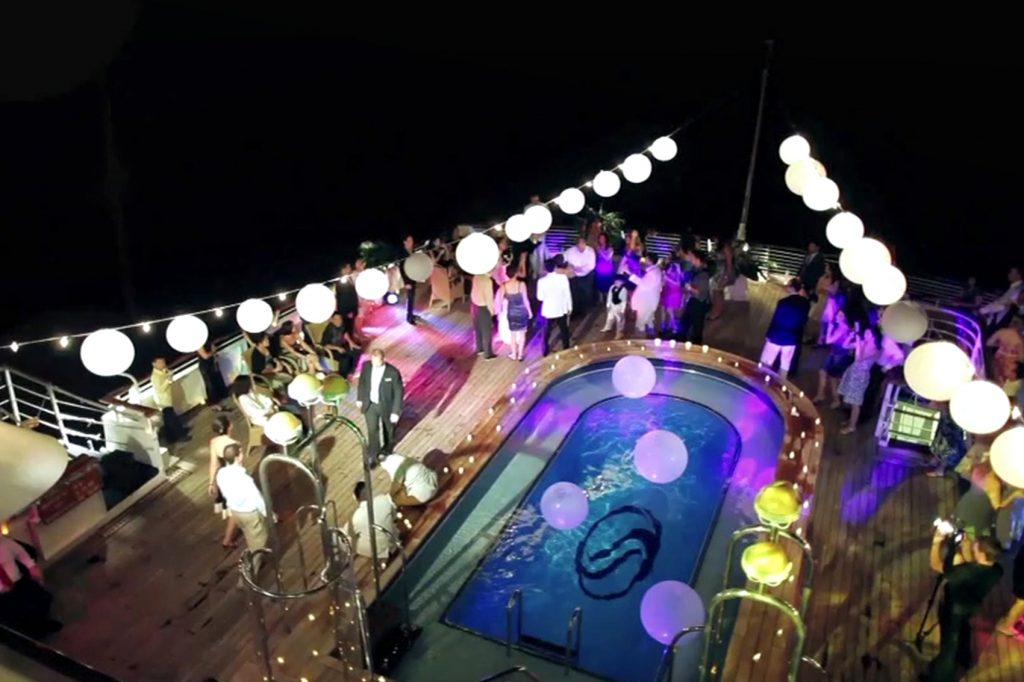 Mega-yacht charter SeaDream deck party