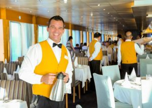 Cuba cruise - waiter on Celestyal Crystal