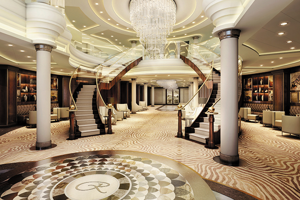 Seven Seas Explorer lobby - most luxurious ship