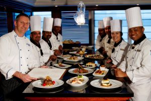 Chefs onboard an Azamara Club Cruises cruise ship