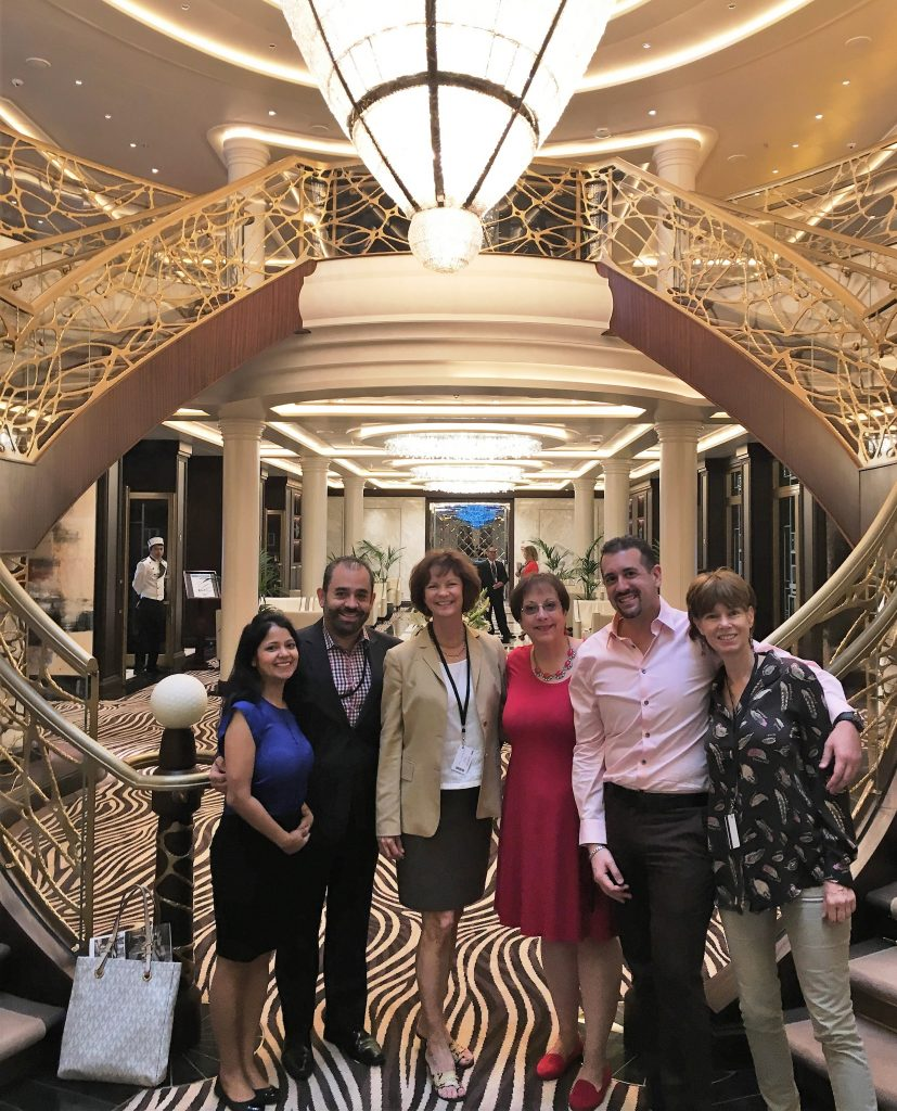 Joyce Landry (third from left) and team on board Seven Seas Explorer - the world's most luxurious ship