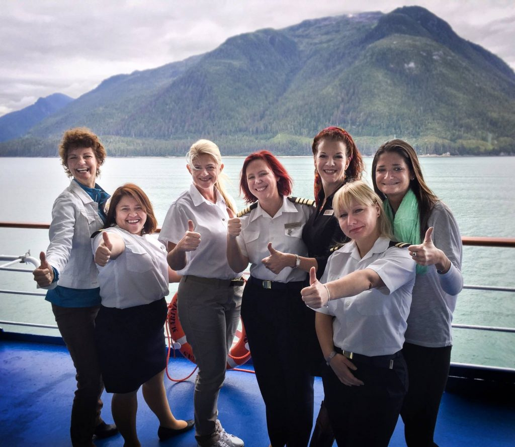 Cruise Industry Leaders -Joyce Landry with Seven Seas Mariner Female Captain & Crew