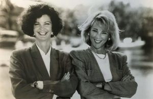 Joyce Landry & Jo Kling behind their Landry & Kling Miami offices, 1990