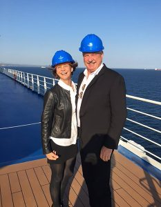 Joyce Landry onboard Silver Muse with Mark Conroy of Silversea during shakedown cruise
