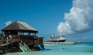 Holland America ship at Half Moon Cay private island