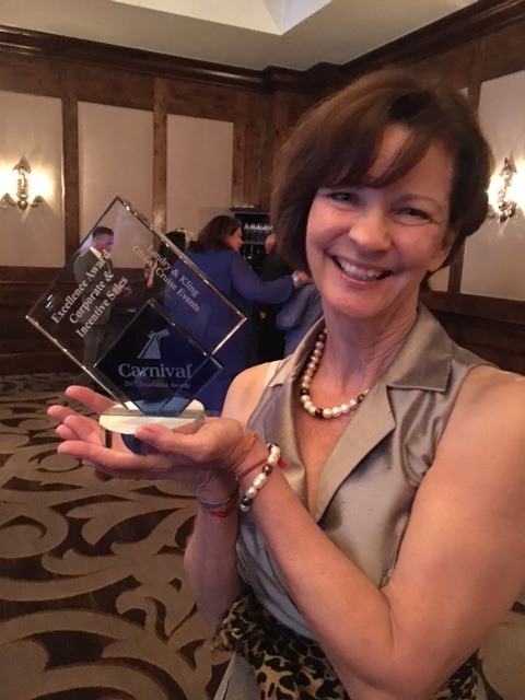 Joyce Landry with Carnival Criuise Line Excellence Award for Corporate-Incentive Sales