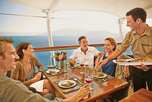 Seabourn Yacht group dining on deck