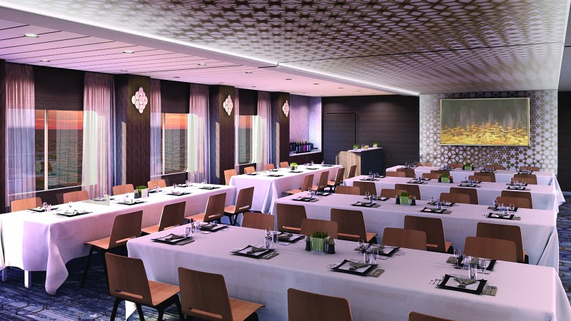 Celebrity Edge The Meeting Place banquet setup cruise ship meeting space