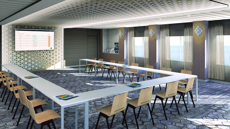 cruise ship meeting space - Celebrity Edge meeting place U-shape setup