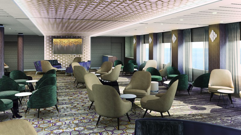 cruise ship meeting space - Celebrity Edge Meeting Place lounge setup