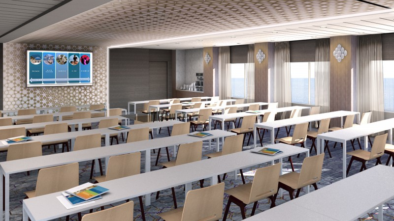 Meeting space on cruise ships Celebrity Edge Meeting Place classroom setup