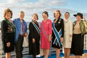 DAR ladies on deck during association milestone cruise
