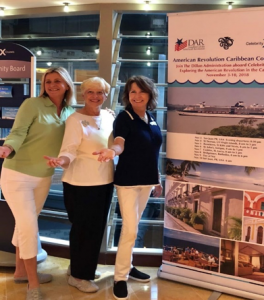 From left to right: Nicola Rowan, cruise liaison from Landry & Kling; Gale Crafton, National Chairman, DAR Tours; Sally Alshouse, National Vice Chairman, DAR Tours.