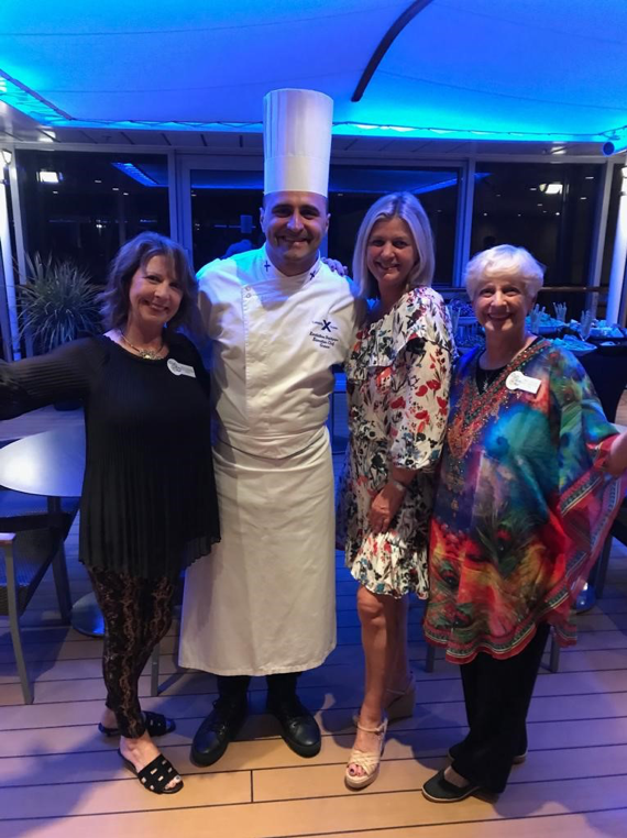 from left to right: Sally Alshouse, National Vice Chairman, DAR Tours; Head chef Celebrity Summit; Nicola Rowan, cruise liaison from Landry & Kling; Gale Crafton, National Chairman, DAR Tours.