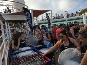 WOD ship charter -Deck party with FitAid signage