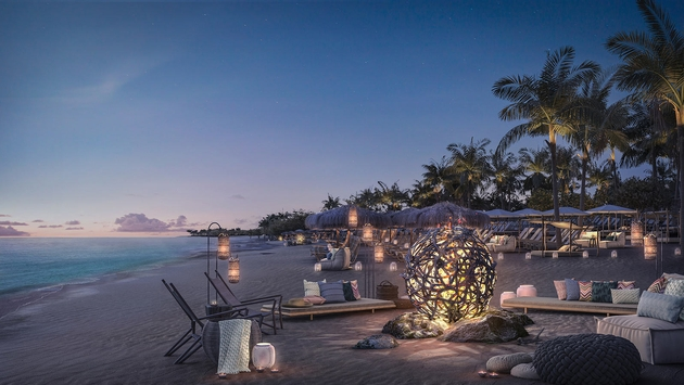 Virgin Voyages Bimini Beach Club features communal bonfires at sunset.
