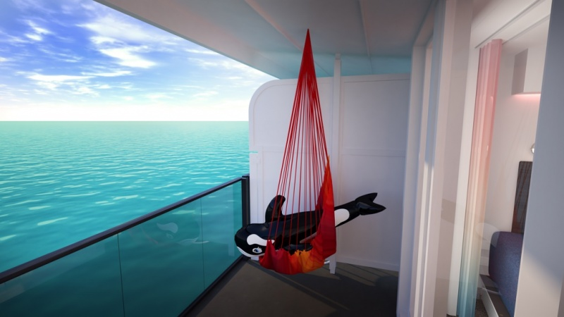 All Sea Terraces on Scarlet Lady have custom-designed hammocks