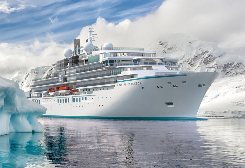 Luxury expedition yacht Crystal Endeavor in Antarctica